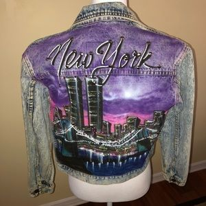 Vintage retro airbrush New York Jean jacket size S